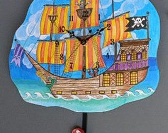 Pirate Ship  Clock with Mermaid Pendulum