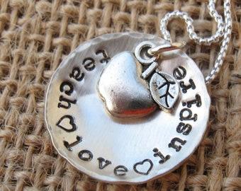 Teacher Necklace - Teacher Gift -Teach, Inspire, Love,  Necklace  - Hand Stamped - Teacher Appreciation Gift
