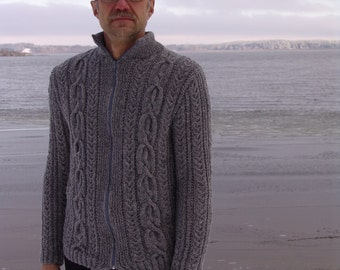Man jacket gray wool knitted with zipper winter sweater cardigan christmas gift