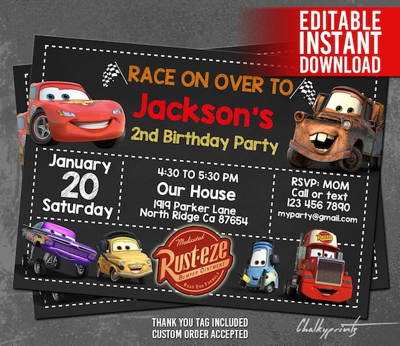 Disney Cars Invitation Instant Download Disney Cars Birthday