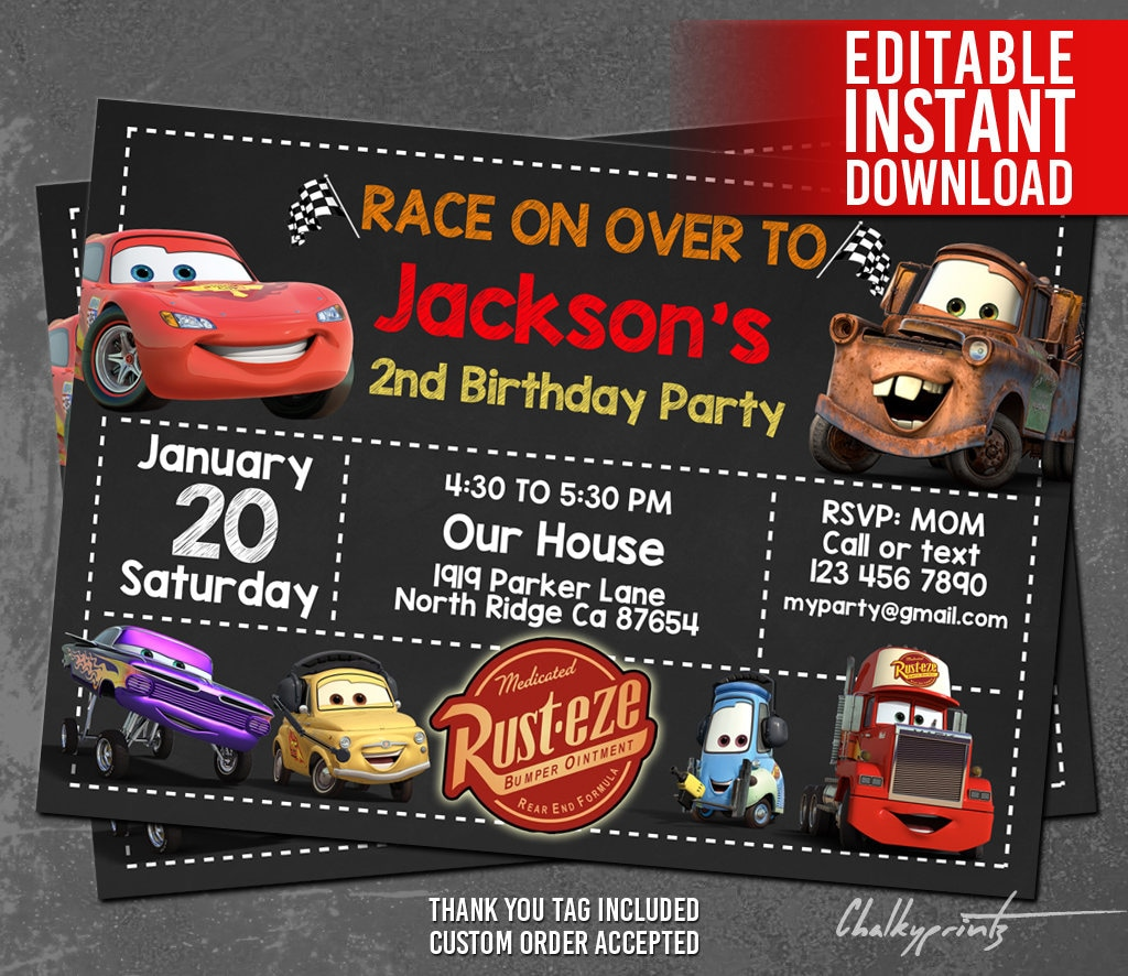 Disney Cars Invitation Instant Download Disney Cars Birthday