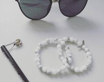 Bracelets of natural stone beads