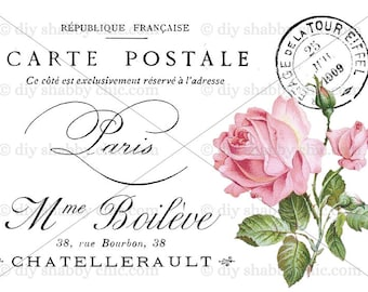 High Quality Furniture Decal Shabby Chic French Image Transfer Vintage Typography Pink  Rose Label Recycle Upcycling Art Crafts Scrapbooking Card Making