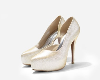 Alina Custom Made Gold Glitter Heels, Bespoke Gold Glitter Pumps, Gold Wedding Shoes, Gold Bridal Heels