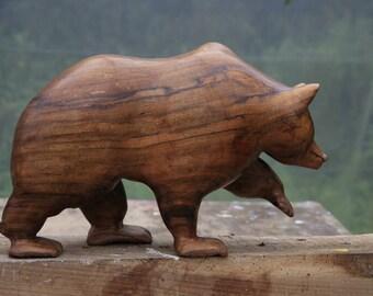 Walnut bear carving