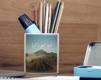 Let's Get Lost Wanderlust Motivational Hiking Volcano Inspirational Pencil Holder, Pen Pot, Pen Holder, Gift Idea, Children Gift, PP081