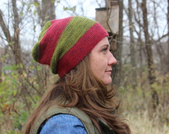 hand knit slouchy hat s/m