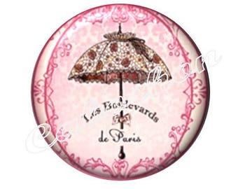2 20mm glass cabochons, umbrella, tone Paris pink
