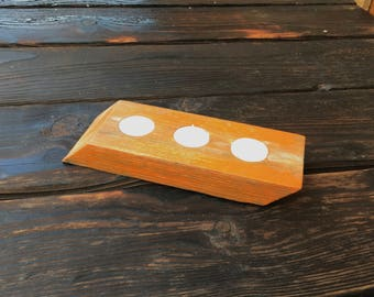 Halloween candle holder crafted from reclaimed oak