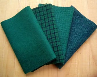 """Hand Dyed Felted Wool, HUNTER GREEN Four 6.5"""" x 16"""" pieces in Deep Forest Green, Perfect for Rug Hooking, Applique', and Crafts"""