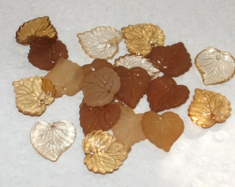 30 Acrylic Leaf Beads  15mm Cocoa Mix