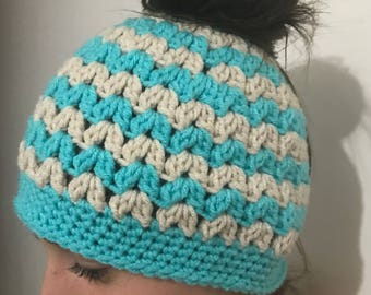 V Stitch messy bun beanie teen/adult