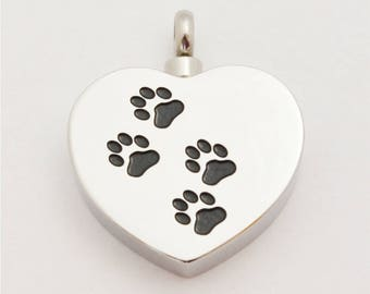Stainless Steel Cremation Locket with Pawprints, Pet Ash Urn, Pet Loss Locket, Ash Urn Locket, USA Seller (L-CRE-3)