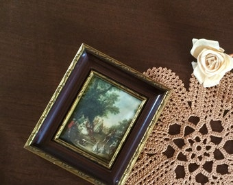 Cadre vintage reproduction peinture sur soie - Danse dans le Parc du Château de Lancret