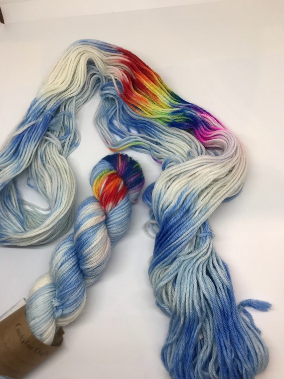 Rainbow Dash - 50g 100% Superwash Merino DK double knit yarn, hand dyed in Scotland, variegated
