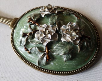 Enameled flower design hand mirror, lavender and pale greens
