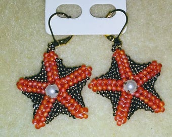 Double sided starfish beaded earrings with pearl accents