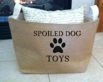 spoiled dog  lined burlap dog toy basket , burlap storage tote