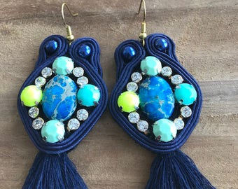 Dangling earrings Navy Blue soutache edged with Rhinestones and pearls