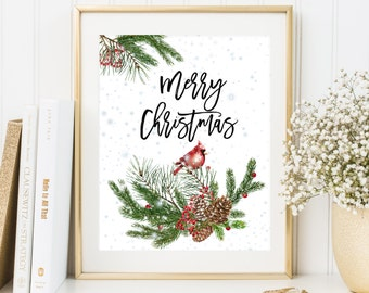 Merry Christmas printable Christmas home decoration Red Cardinal Print Snowflakes decoration Holiday Wall Art Christmas party decoration