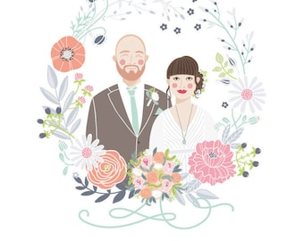 Custom Illustrated Couple Portrait