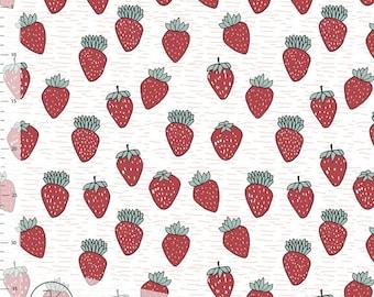 Cotton/Lycra Knit Fabric | Organic Jersey | Strawberries/Fruit/Food Fabric | Very Strawberry | Elvelyckan Design /// [ 1/2 yard + ]