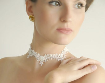 lace necklace collar ivory bridal necklace
