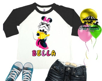 Minnie Mouse Storm Trooper Shirt, Personalized Raglan Shirt, Matching shirts, Toddler Youth Adult  (mc301)