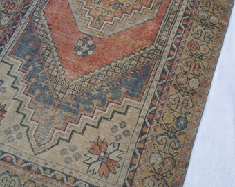 "6'11""x3'7"" Red Blue and Neutral Traditional Vintage Turkish Oushak Rug"
