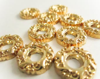 Vintage Gold Fancy Swirl Button Setting, Small 15mm, Vintage Buttons,Cabochon Setting, Floral Button Setting,  button jewelry, sewing