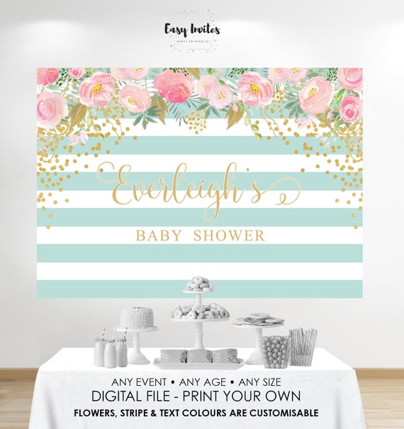 Amazing Baby Shower Backdrop, Baby Shower Back Drop, Baby Shower Background, Pink  And Gold Baby Shower, Mint And Gold Baby Shower, Printable