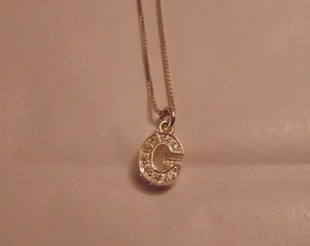 Dainty G Initial Sterling Silver Necklace