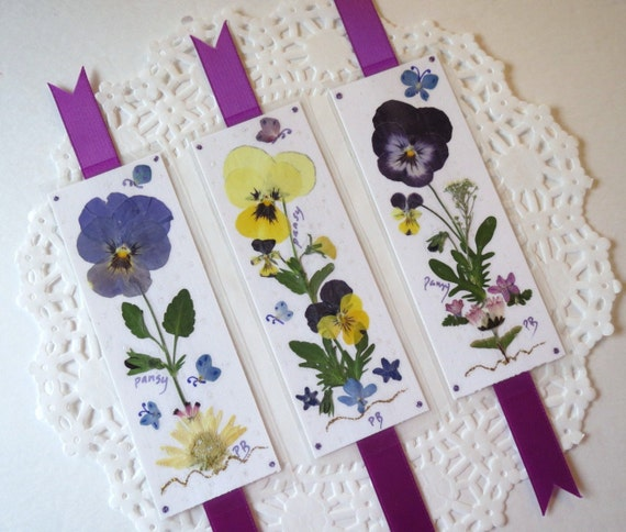 Laminated Pressed Flowers ~ Pressed flower bookmarks book accessories laminated pansy