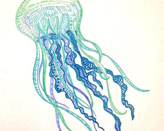 Colorful Jellyfish art blue jellyfish drawing jelly fish decor teal aqua jellyfish tropical room decor colorful ocean sea art beach theme