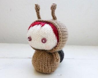 Amigurumi snail doll, knit snail, Amigurumi doll, knit amigurumi, amigurumi girl doll, escargo, hand knit, knit doll, small doll, snail