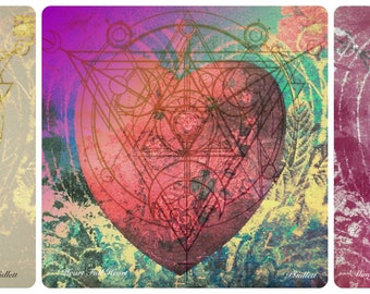 HEALING HEARTS PRINT Giclee Archival Ink, 3 hearts on One,Filled with Alchemy Magic Color, to Heal the Roots/Heart/Mind  Pat Gullett