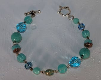 Aqua Multi Beaded Bracelet