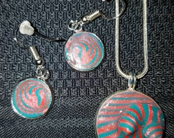 Necklace and earrings. Silver and polymer clay. Teal swirl.