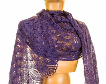 Haruni Rectangle Knit Lace Shawl Pattern