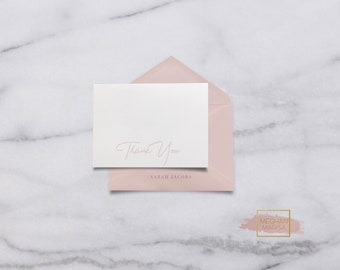 Personalized Thank You Note Card with Envelope, Custom Stationery Set, Greeting Card, Set of 20