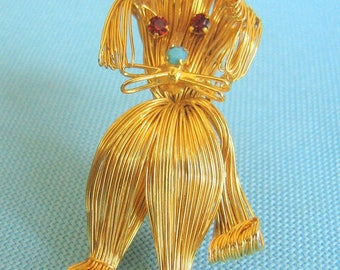 "Gold Tone Wire Work ""Spaghetti"" Dog Brooch"