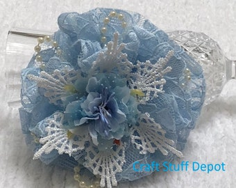Handmade Flower, Shabby Chic, Lace Rosette, Fiber Embellishment, Package Topper, Hair Accessory, Brooch, Trim, Book Cover, Blue, Ornament