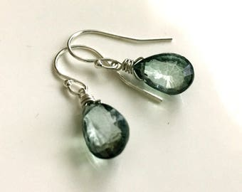 Mystic Green Quartz Convex Teenie Earrings, leverback option, gemstone green earrings, faceted
