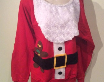 Womens Custom Altered Ugly Christmas Sweater Santa Claus Flex Fleece Pullover Sweatshirt - XS S M L XL