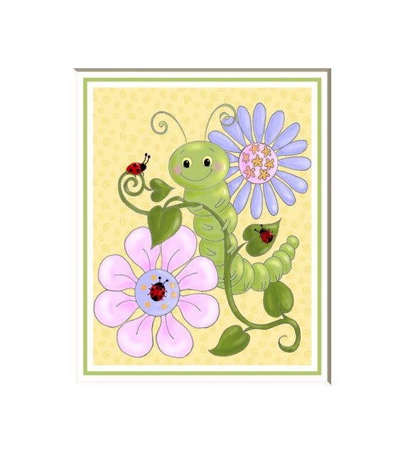 Caterpillar and Ladybugs art print children\'s wall art