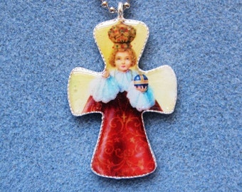 Infant of Prague Handmade Catholic Resin Cross Crucifix Necklace IP2