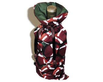 Football Gifts, Wine Bag, Tailgate Party, Football Fan, Housewarming Gift, Gift For Men & Women, Reusable Fabric Wine Bag