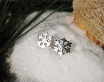 Snowflake Winter Christmas Stud Sterling Silver Earrings