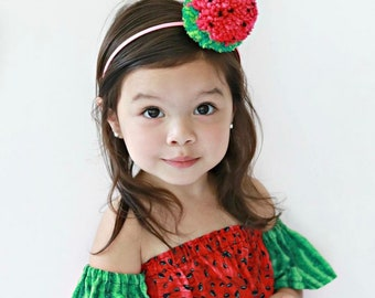 Tutti Frutti Watermelon Headband Watermelon Headband Tutti Frutti Party Headband Childrens Pom Pom Headband Summer Headband