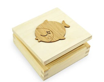 SECRET BOX - Wood Box with Fish Ornament